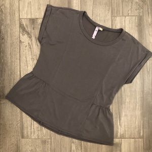 Francesca's Grey Peplum Top